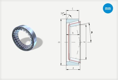 Kuželíkové ložiská bez vnútorného krúžku metrické rozmery